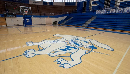 The basketball court at Frankfort High School, home of the Hot Dogs, Frankfort, Tuesday, Nov. 19, 2019.