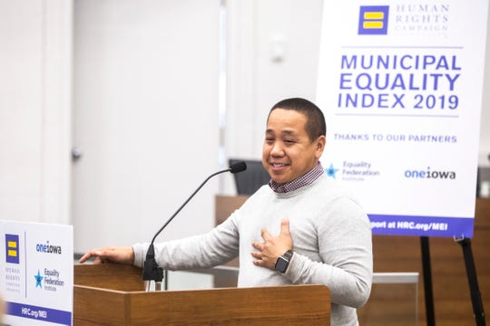 Anthony Sivanthaphanith, president of Iowa City Pride, speaks during a municipal equality index scorecard launch event with the Human Rights Campaign Foundation (HRC), Tuesday, Nov., 19, 2019, at City Hall in Iowa City, Iowa.