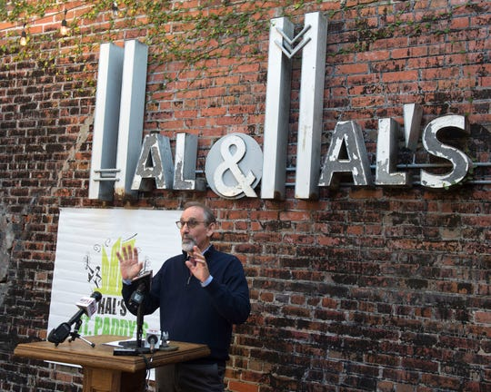 Malcolm White of Hal & Mal's restaurant announces plans on Tuesday, Nov. 19, 2019, for the 2020 Hal's St. Paddy's Parade and Festival on the brewpub patio of Hal & Mal's in downtown Jackson.