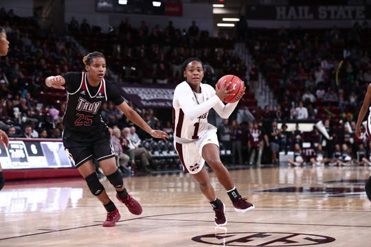 Mississippi State point guard Myah Taylor scored a career high 20 points in the Bulldogs' 122-82 win over Troy.