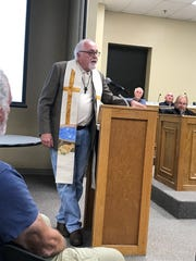 Pastor Robert Fox addresses the crowd at a Sevier County Commission meeting Monday, Nov. 18, 2019, a month after Commissioner Warren Hurst went on a homophobic, racist rant.