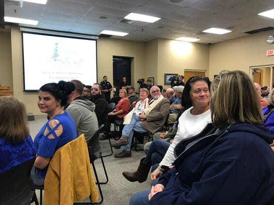 Some Sevier County residents showed up in blue in support of the First Amendment at the first meeting of the Sevier County Commission since Commissioner Warren Hurst launched into a homophobic, racist rant.