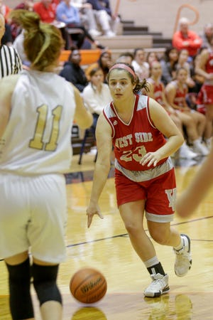 West Lafayette's Ava Doty (23) dribbles during the second quarter of game one in the 2019 Girls Hoops Classic, Monday, Nov. 18, 2019 in West Lafayette.