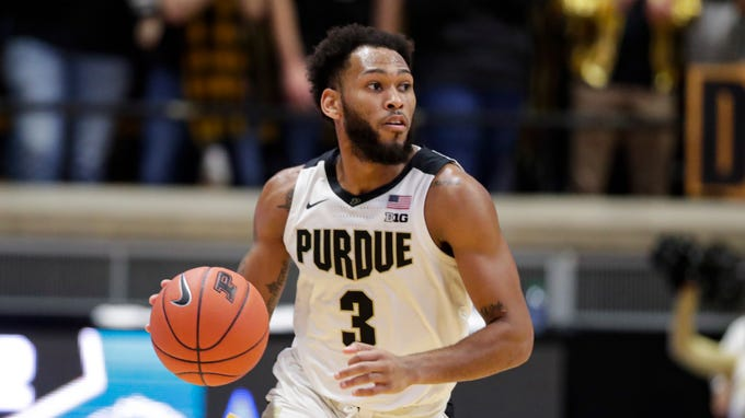 Purdue guard Jahaad Proctor (3) plays against Chicago State during the second half of an NCAA college basketball game in West Lafayette, Ind., Saturday, Nov. 16, 2019. Purdue defeated Chicago State 93-49. (AP Photo/Michael Conroy)