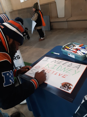 Marcus Edwards, 49, of Jeffersonville, Indiana, had his request for a kidney donor go viral after he held up a sign at the Nov. 10, 2019, Chicago Bears against the Detroit Lions at Soldier Field in Chicago, Illinois.