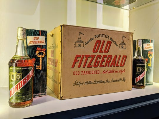 "This display at Justins' House of Bourbon was custom built to house the complete case of a 1950 Old Fitzgerald packaged for ""holiday hospitality"" and for sale now for $70,000."
