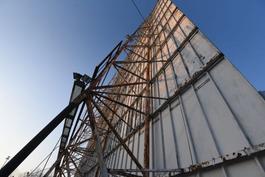 The towering big screen at the Sunset Drive-In has been a landmark in the area since 1947.