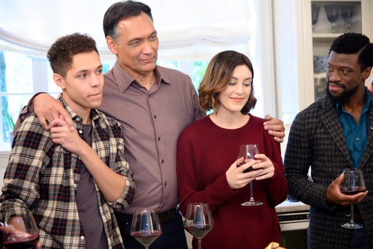 """Perfect Day"" Episode 110: Stony Blyden as Emerson Howe, Jimmy Smits as Elijah Strait, Caitlin McGee as Sydney Strait and Michael Luwoye as Anthony Little"