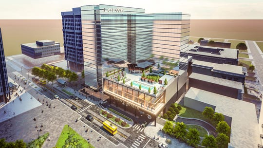 A newly released rendering of the proposed Loews Hotel in Memphis