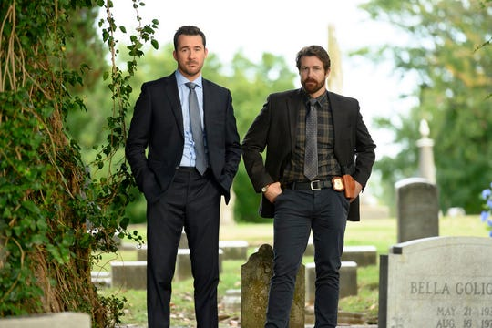 """Ave Maria"" Episode 109 -- Pictured: (l-r) Barry Sloane as Jake Reilly and Josh Kelly as Robbie Ellis"