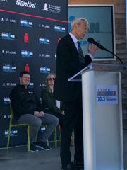 Richard C. Shadyac Jr. speaks during the announcement of the Ironman's half-triathlon coming to Memphis. Shadyac  is the chief executive officer of ALSAC, the awareness and fundraising organization of St. Jude Children's Research Hospital.