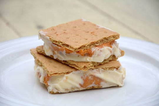 Leftover pumpkin pie converts into these easy ice cream sandwiches for dessert.