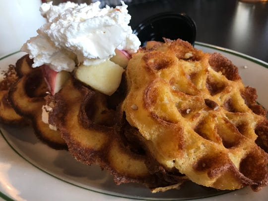 The Wonderland Waffles at Wonderland, 732 E. Burleigh St., are made from cornbread batter and especially crisp.