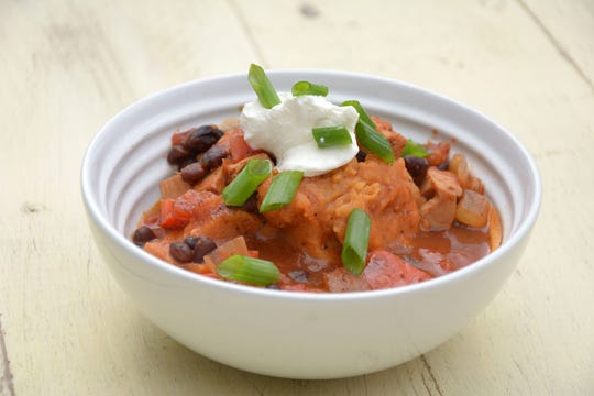 Leftover turkey and mashed sweet potatoes team up with tomatoes and black beans for a post-holiday chili.
