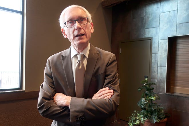 Wisconsin Gov. Tony Evers tells reporters on Nov. 13 that the state public records law is barring him from releasing emails from one day.
