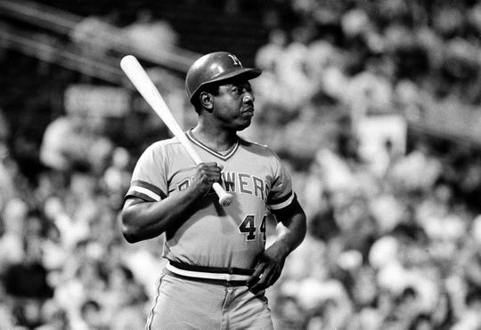 1976: Milwaukee Brewers' Hank Aaron is shown during a  game in Texas at Arlington Stadium, Aug. 25, 1976. This is the away uniform.