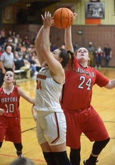 Norfork's Hannah Bryant blocks a shot during a recent game. Bryant scored 24 points in the Lady Panthers' victory Monday night over Flippin.