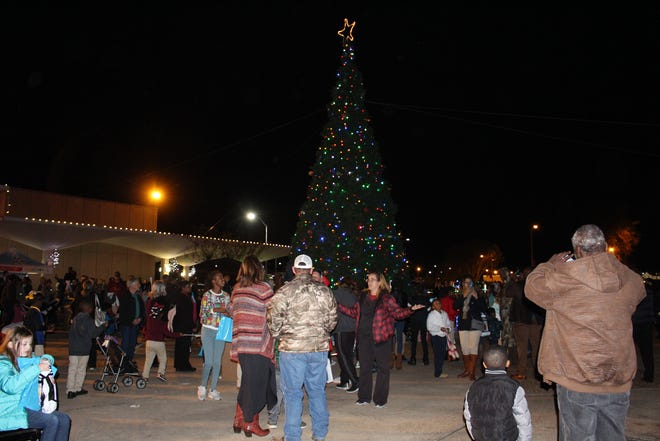 Guests watch as the City of Monroe Christmas tree lights up.
