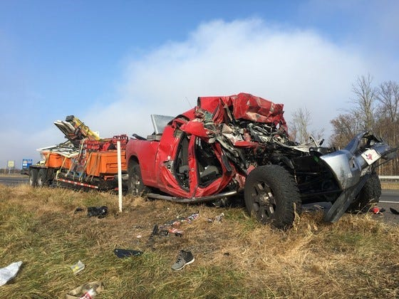 One person was killed and two others injured in a crash involving a semi-tractor trailer and a pickup truck on Interstate 70 in Henry County on Tuesday morning.