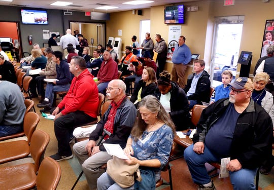 The driver services center waiting area in Murfreesboro is full on Tuesday morning, Nov. 19, 2019, as many wait to renew their license and get the REAL ID.