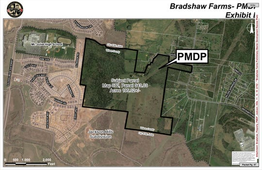 Bradshaw Farms is a plan to build 561 homes on property that would be annexed into Mt. Juliet.