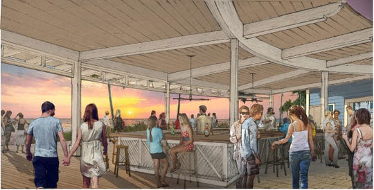 Rendering of beach bar at proposed Naples Beach Resort redevelopment project.