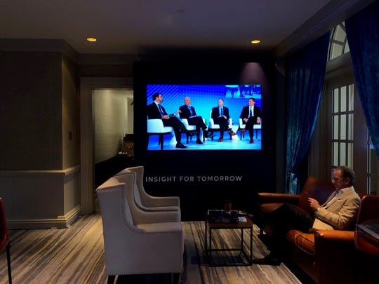 Space industry leaders talk Nov. 19, 2019, on a monitor during the Global Financial Leadership Conference at The Ritz-Carlton by the beach in Naples. No media were allowed to shoot photos inside the auditorium.