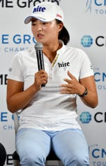 Jin Young Ko during a interview session during the 2019 CME Group Tour Championship Pro AM at the Tiburon Golf Club in Naples,Tuesday, Nov. 19, 2019. (Chris Tilley Photo/Chris Tilley)