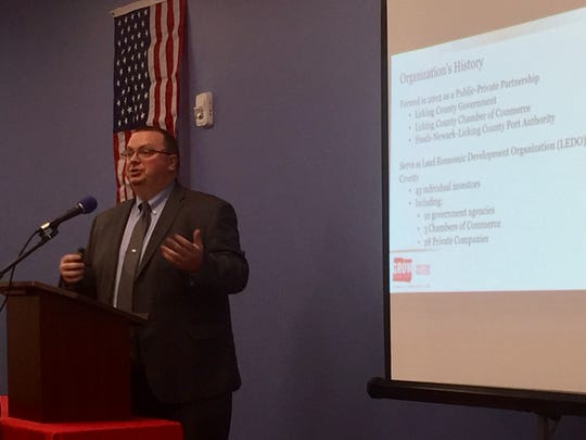 Grow Licking County's Nate Strum addresses the Patskala Area Chamber of Commerce at its monthly luncheon meeting Nov. 19.