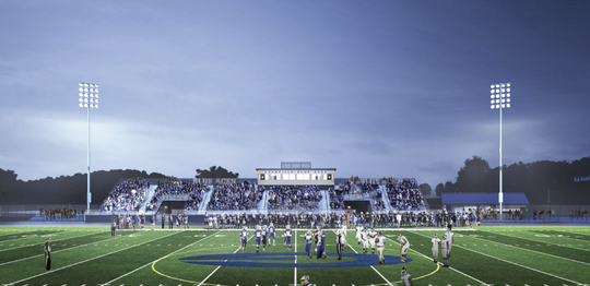 A ground-level view of the planned Granville High School arena complex.