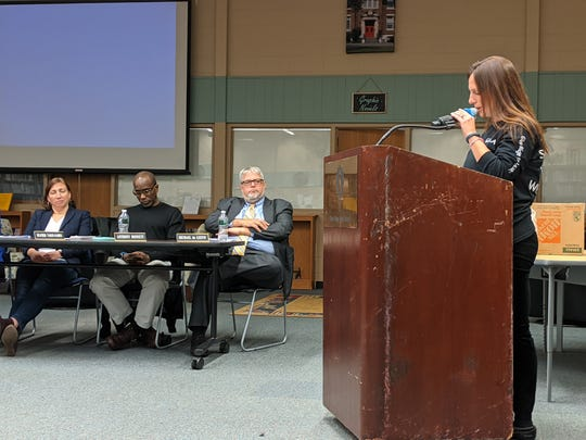 Ridgewood Avenue School math teacher Alice Baker-Roberts spoke to the Glen Ridge Board of Education about their expired contracts.
