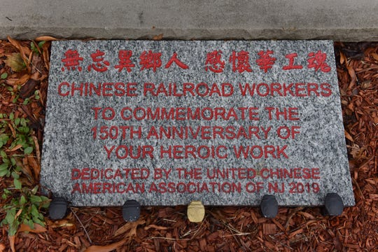 A memorial to Chinese Railroad Workers in the cemetery at the Reformed Church in Belleville, N.J. on Tuesday Nov. 19, 2019.