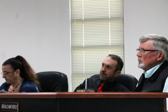 The Otero County Commission at their regular meeting Nov. 14.  From left are Otero County Commissioner Lori Bies, Otero County Commission Chairman Couy Griffin and Otero County Commission Vice-Chairman Gerald Matherly.