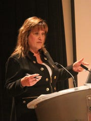 Wayne County Commissioner Diane Webb, D-Livonia, speaks at a public meeting put on by Save Hines Park Nov. 18 at Schoolcraft College.
