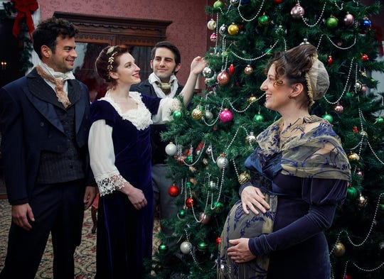 "Cast members of ""Miss Bennet: Christmas at Pemberley."""