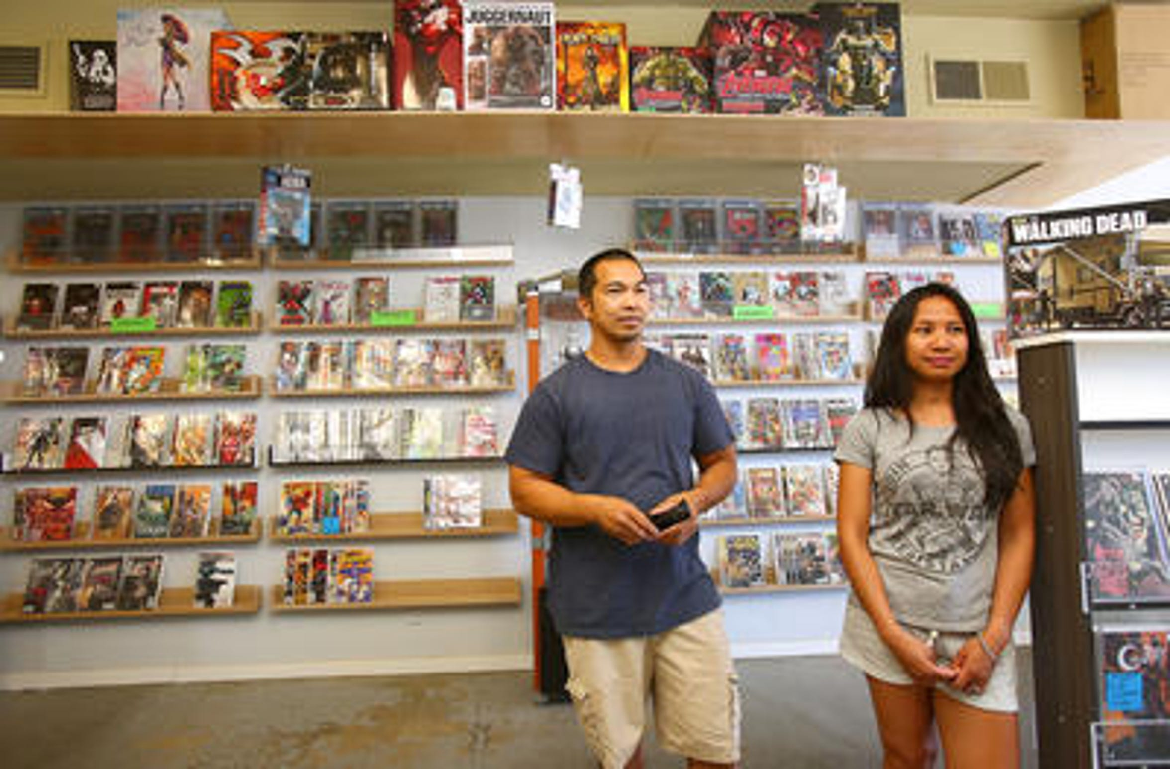 Big Q and Chicks Halay-Ay opened Comic Asylum at 44-829 San Pablo Ave., Palm Desert, about four years ago knowing of the city's plan to reconstruct the street in front of their business. Construction is costing them business, she said recently, but they believe the end result will be worth their patience.