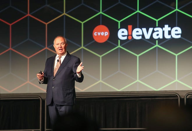 Joe Wallace speaks on the Coachella Valley economy during the CVEP Summit in November 2019.