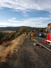 Riverside County firefighters on Tuesday, Nov. 19, 2019, rappelled down a mountainside to rescue a man whose Volkswagen Golf veered off Highway 371 in Anza. The motorist was flown to Desert Regional Medical Center.