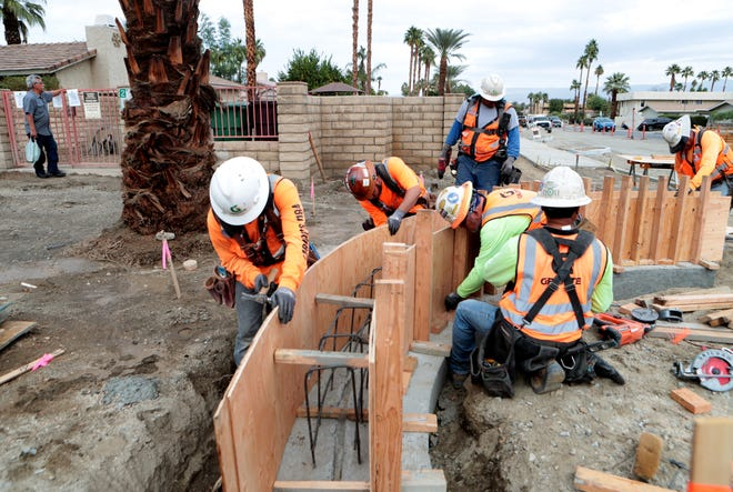 Construction work is underway on San Pablo Avenue in Palm Desert, Calif., by Granite Construction on Nov. 19, 2019. The construction is part of the city's vision for the area to be transformed into a city center.