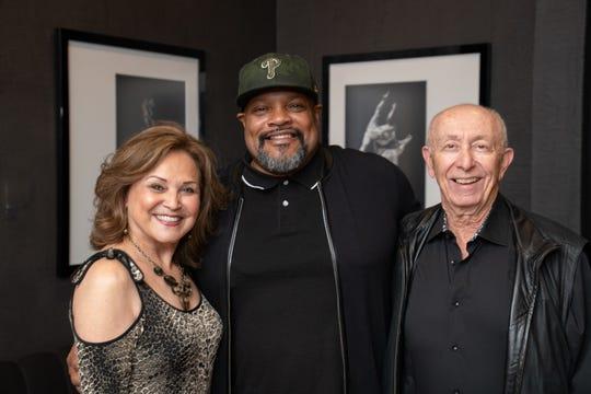 Collaborative Sponsors Olga Morales and Allen Burstiner congratulate Lifetime Achievement Award winner Rennie Harris.