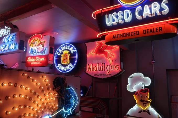 These are some of the signs on display at the National Neon Sign Museum in The Dalles, Oregon.