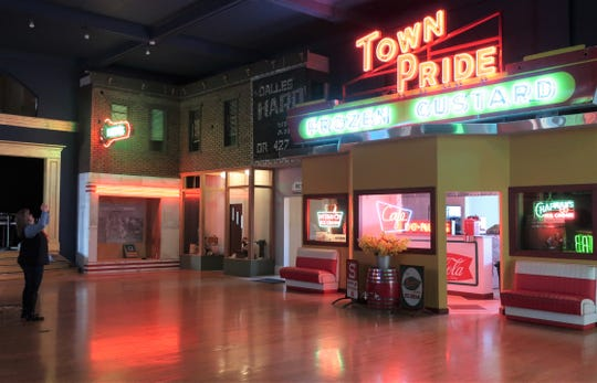 The National Neon Sign Museum has 20,000 square feet of exhibits. The second floor was designed to resemble a 1950s street scene.