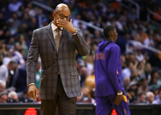 Phoenix Suns head coach Monty Williams reacts after a loss to the Boston Celtics on Nov. 18, 2019 in Phoenix, Ariz.