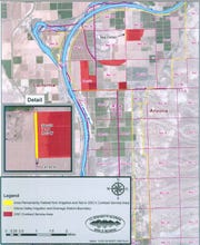 This map was submitted by the company GSC Farm LLC and the town of Queen Creek as part of a proposal to the Arizona Department of Water Resources. The company and the town are proposing to transfer Colorado River water that is now used for farming to Queen Creek.