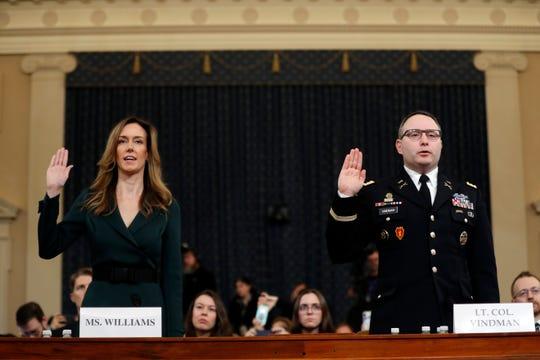 Jennifer Williams, miembro del equipo de asesores de Mike Pence, y el teniente coronel Alexander Vindman, comparecen en el congreso.