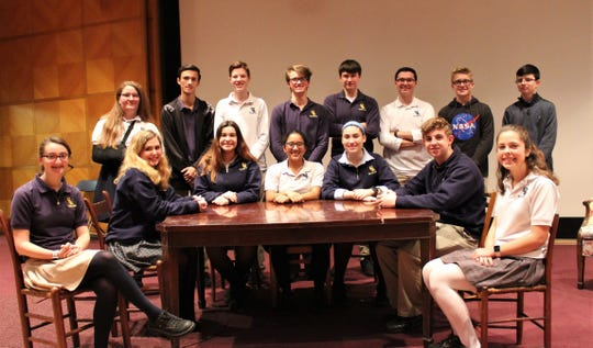 """Cast and crew for Our Lady of Lourdes' production of """"The Diary of Anne Frank,"""" are, seated, left to right: Lauren Daniels, Nicole Speziale, Emily Reese, Mei Rao, Cassidy Millott, Anthony D'Antonio and Emma Hall. Standing, left to right, are Katie Thorn, Chase Lois, Matthew Cruser, Michael Spear, Otto Croshier, Patrick Quinn, Thaddeus Kinlaw and Jake Marcone."""