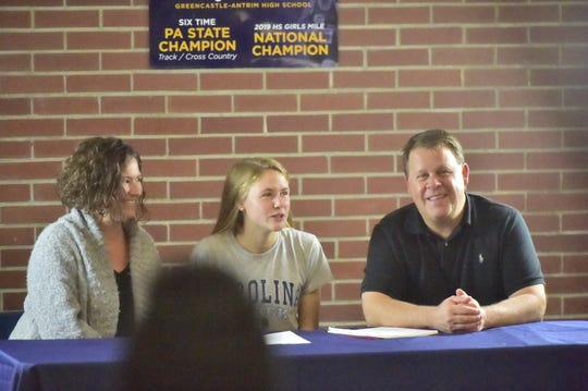 Greencastle-Antrim's Taryn Parks announces her commitment to the University of North Carolina on Nov. 18 at Greencastle-Antrim High School.