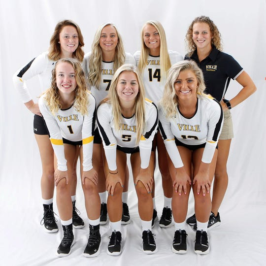 Athletes from the York-Adams League are having a major impact for the Millersville University women's volleyball team. They are: front row, from left, Emily Hoffman (sophomore, York Catholic), Maddee Luring (sophomore, Central York) and Kat Forry (junior, Dallastown); and back row, from left, Madisyn McMaster (freshman, South Western), Lindsey Blevins (junior, Red Lion), Katie Laughman (senior, Delone Catholic) and assistant coach Erin Harman (South Western).