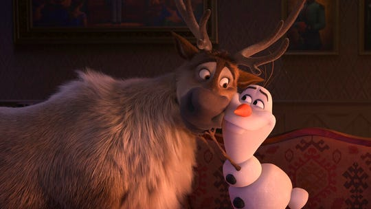 "Sven, left, and Olaf, voiced by Josh Gad, are seen in a scene from ""Frozen 2."" The movie opens Thursday at Regal West Manchester, Queensgate Movies 13 and R/C Hanover Movies 16."