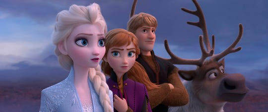 "From left, Elsa, voiced by Idina Menzel, Anna, voiced by Kristen Bell, Kristoff, voiced by Jonathan Groff, and Sven are seen in a scene from ""Frozen 2."" The movie opens Thursday at Regal West Manchester, Queensgate Movies 13 and R/C Hanover Movies 16."